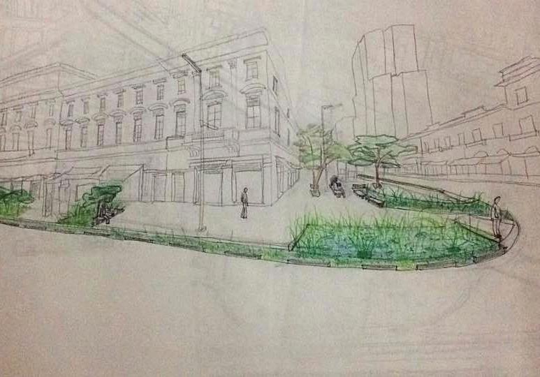 Croqui da Proposta de Calçada com Infraestrutura Verde - Riciane Pombo