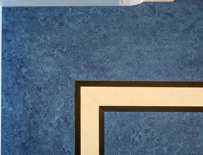 Nahaufnahme Intarsienverlegung Linoleum