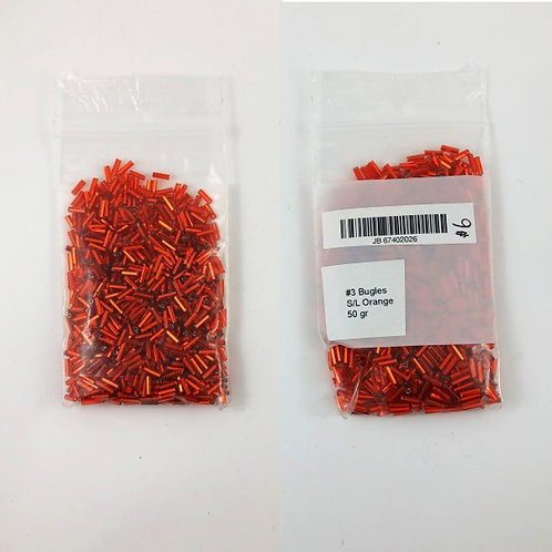 Bugle Beads #3 Sized Silver Lined Orange JB_67402026