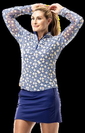 900463 SanSoleil SolCool Womens Long Sleeve Print Mock. Sunshine - Blue (1)_clipped_rev_1.