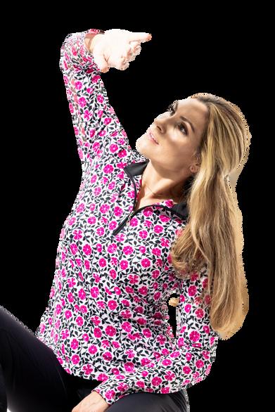 900463 SanSoleil SolCool Womens Long Sleeve Print Mock. Morning Glory - Fuchsia Pink (1)_c