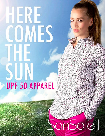 Swim, Tennis, Golf UPF 50 tops- SanSoleil Sun Care- womens golf- golf tops for women- uv protection-