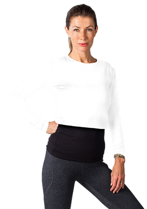 900422 SolTek Cropped Fitness Tee. White