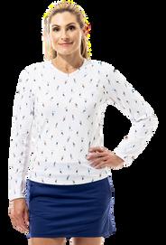 900428P SanSoleil SunGlow Womens Long Sleeve Print Tennis Top. Grand Slam - White 20 (3)_c