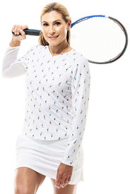 900428P SanSoleil SunGlow Womens Long Sleeve Print Tennis Top. Grand Slam - White (1)_clip