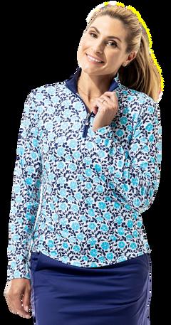 900463 SanSoleil SolCool Womens Long Sleeve Print Mock. Morning Glory. Caribbean Blue (1)_