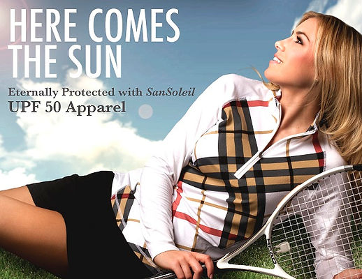 Sun protective long sleeve tops for golfing, tennis and Boating