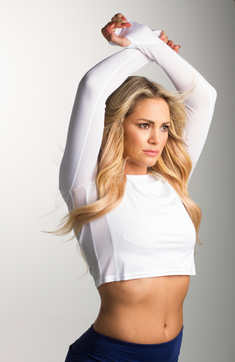 900422.SunGlow Cropped Fitness Tee.White