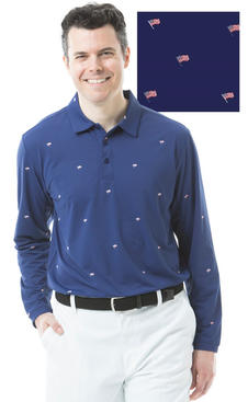900838P SolCool Men's Polo. Flag Day. Na