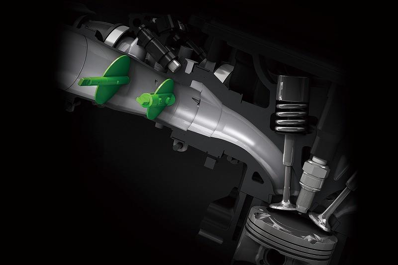 デュアルスロットルバルブ *常に最適な燃料供給が可能なフューエルインジェクションを採用し、60μmの粒状燃料を噴射するインジェクターは高い燃焼効率を実現。 *カワサキのスーパースポーツモデルと同様のデュアルスロットルバルブを採用。吸気量を緻密にコントロールすることで、リニアなスロットルレスポンスを生み出します。 *φ28mmのメインスロットルバルブと、φ40.2mmのサブスロットルバルブがスムーズな空気の流れを生み出し、優れたエンジンパフォーマンスを実現します。