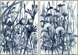 encre bleue sur carton couché - 2 x ( 10,5 x 15 )