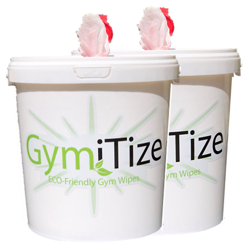 GymiTize ECO Gym Wipes 500 wipe Dispenser Bucket x 2