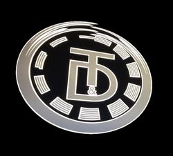 silver logo on black