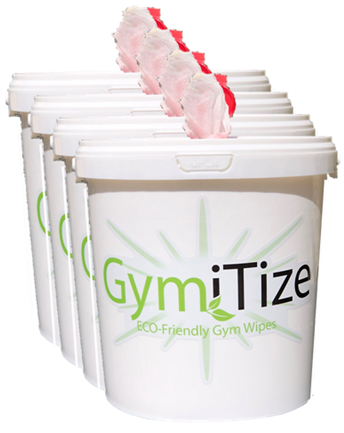 GymiTize ECO Gym Wipes Dispensing Bucket x 4 (2000 wipes)
