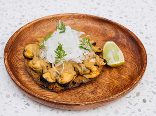 Mussels and Sikil P'aak Tostada