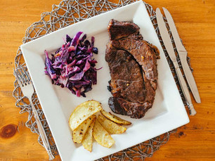 Honey Whisky Sirloin with Red Cabbage with Honey Caraway Dressing