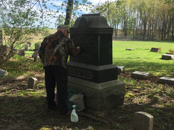 Dave Watson Cleaning Thomas Lewis Headstone