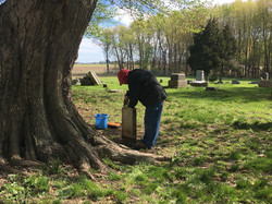 Bill Adams Cleaning Solomon Mott Headstone