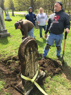 Samuel Comer Headstone as we are leveling the ground