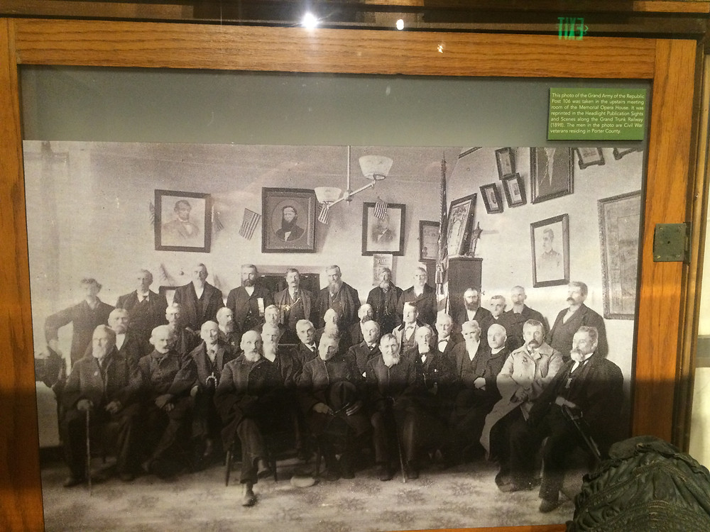 Picture of Chaplain Brown Post Members in the Upstairs room of the Memorial Hall (Opera House)- Valparaiso Indiana. Courtesy of the Porter COunty Museum