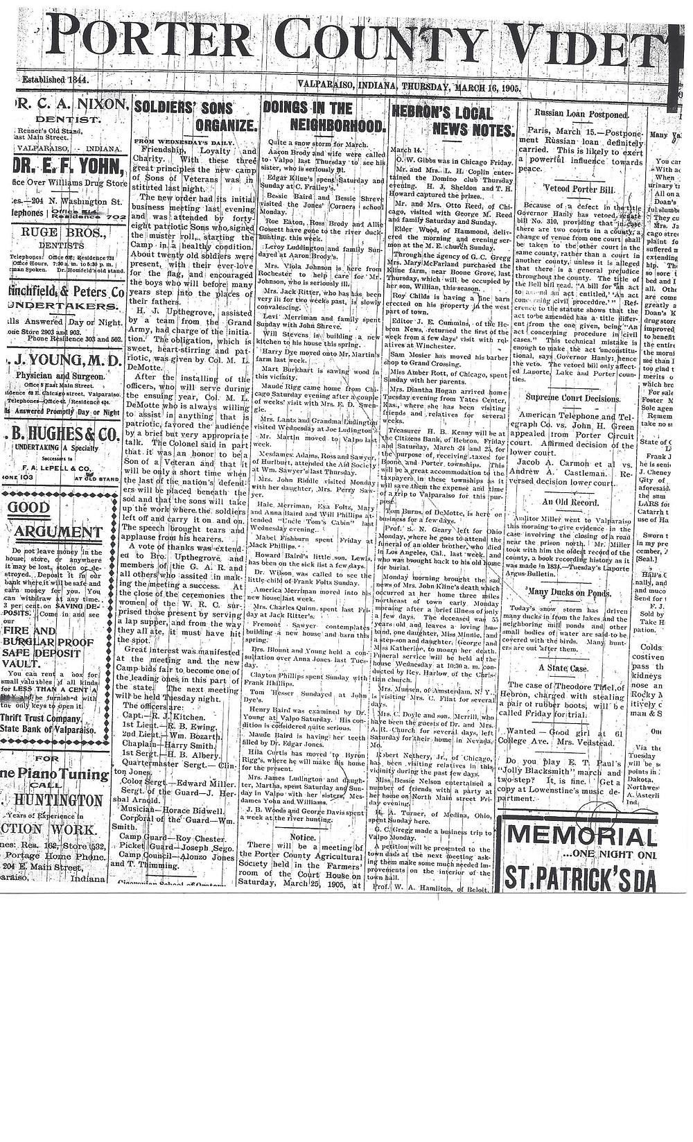 David D Porter Camp organized 1905