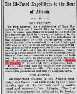 Jasper N Finney Question he wrote about Atlanta