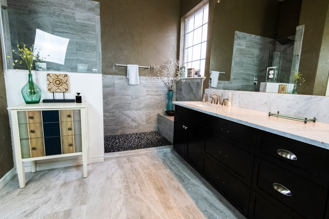 Bathroom Remodel White Floor Tile and Pebble Shower Tile