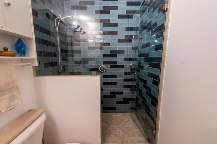 Shower Remodel with Blue Subway Tile