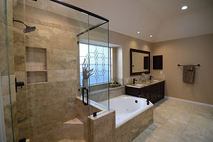 Luxury Bathroom Remodel with Dark Cabinets and New Tub