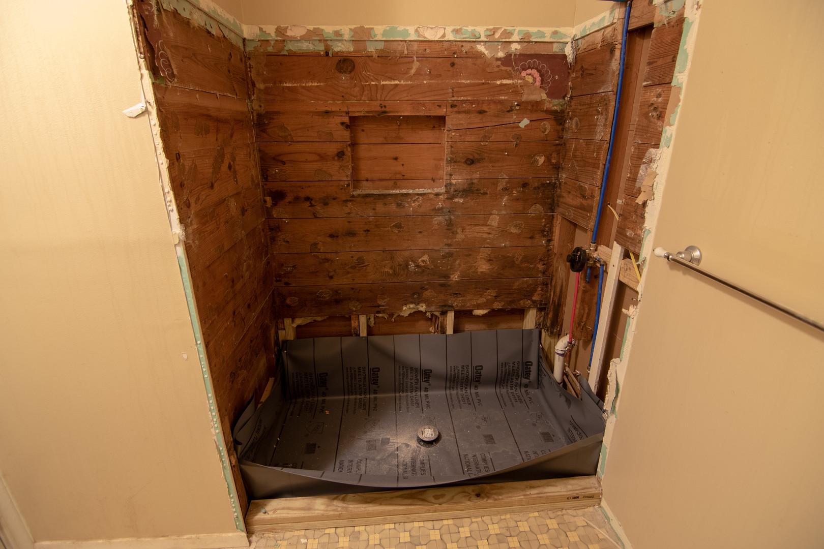 Subwall Before Bathroom Remodel