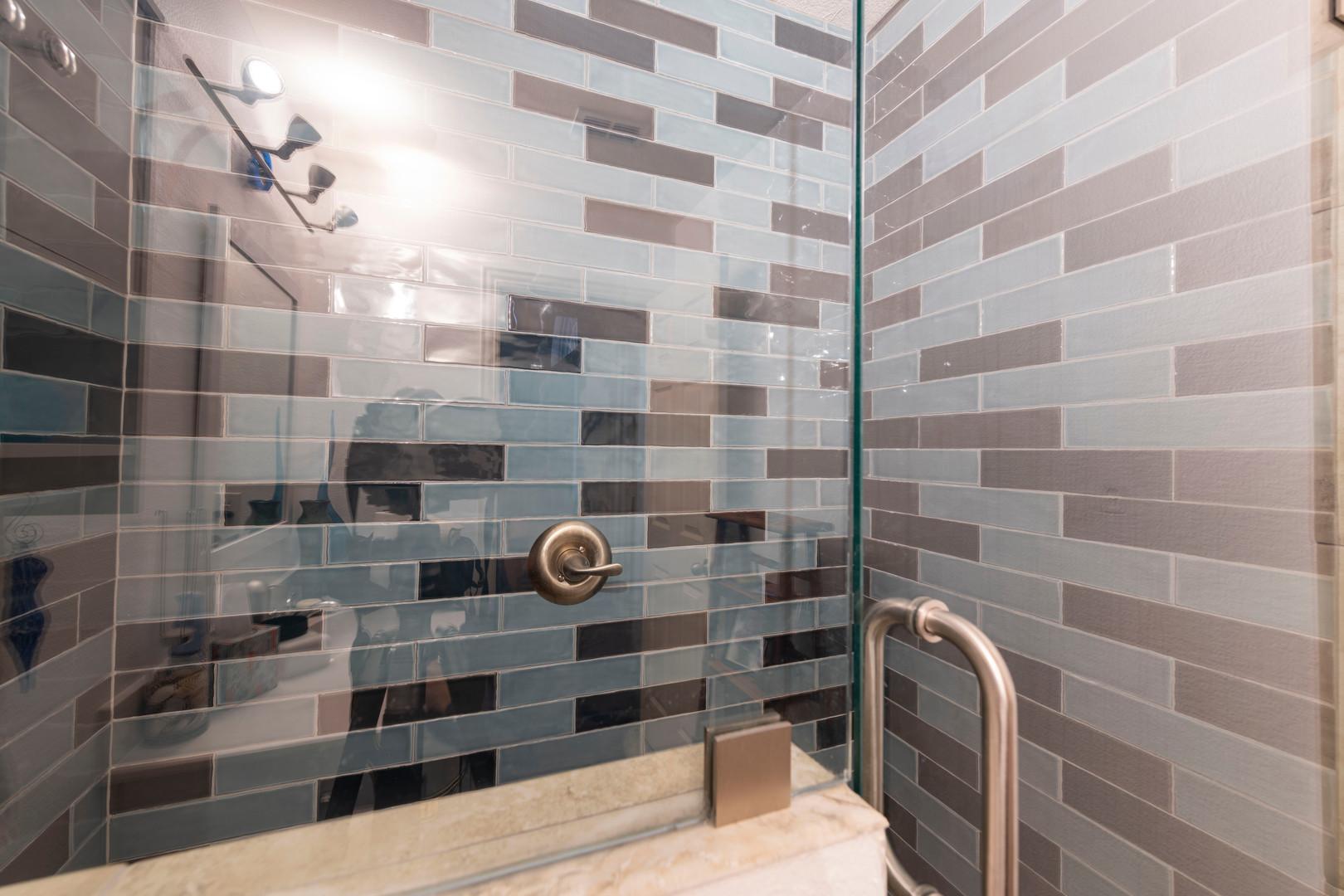 Shower Remodel with Blue Tile
