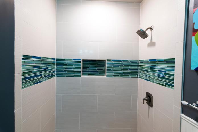 Blue Border Tile Bathroom Remodel