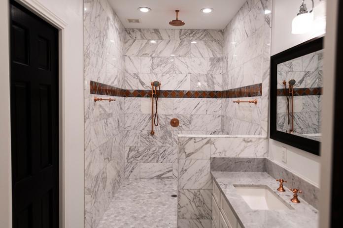 White Carrera Shower Bathroom Tile