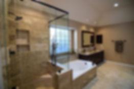 Luxury Bathroom Remodel Natural Stone Look Cabinet Refacing