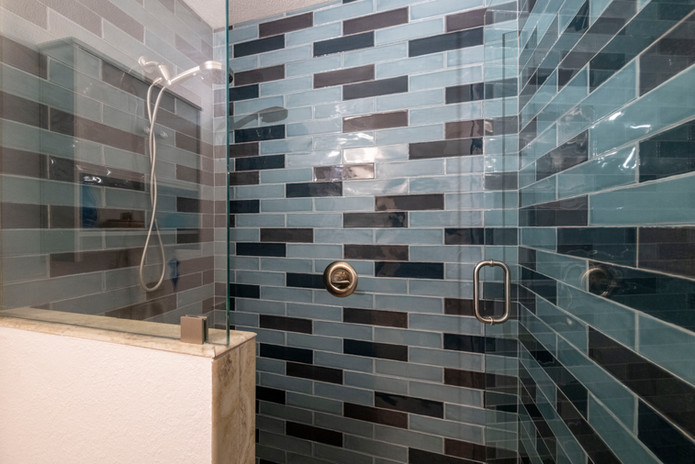 Blue Shower Tile with Glass Doors