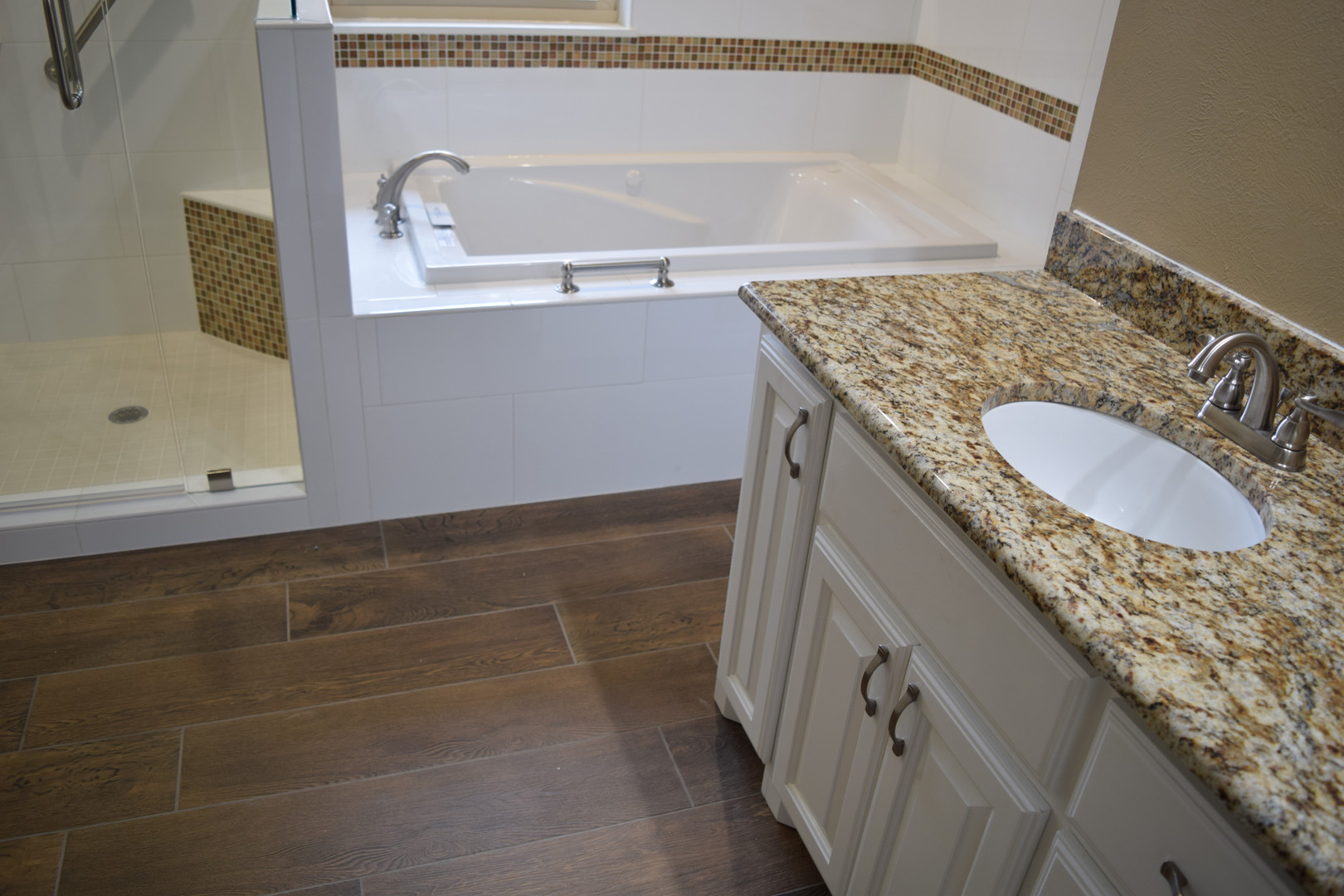 Wood Look Tile Bathroom Floor and Granite Countertop