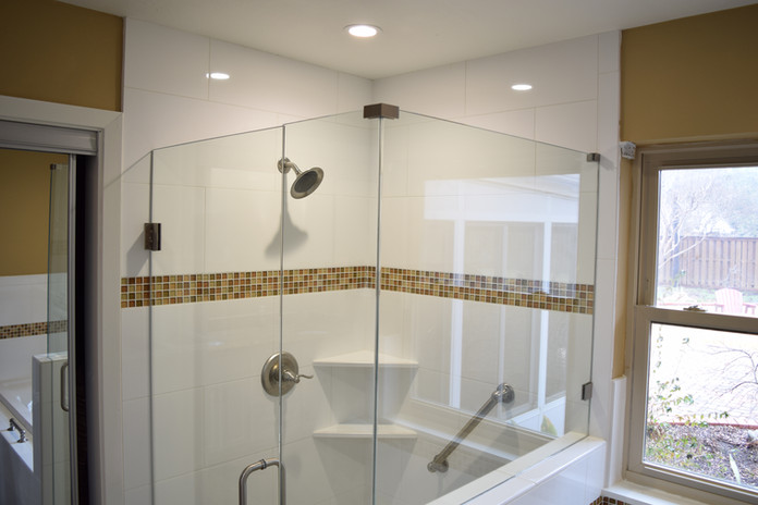 White Shower Tile with Steel Bars and Brown Tile Border