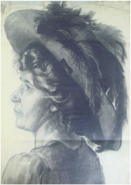Portrait mit Feder 1910 Bleistift 60x40cm