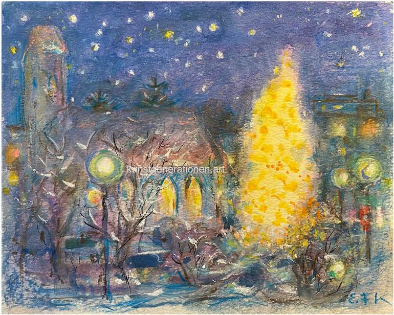 Weihnachten am alten Kircherl1998W/C30x24 cm
