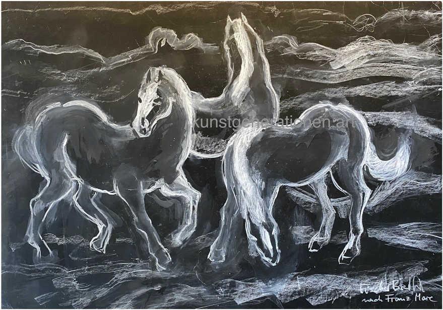 Pferde (nach Franz Marc)2013Kreide68x48 cm