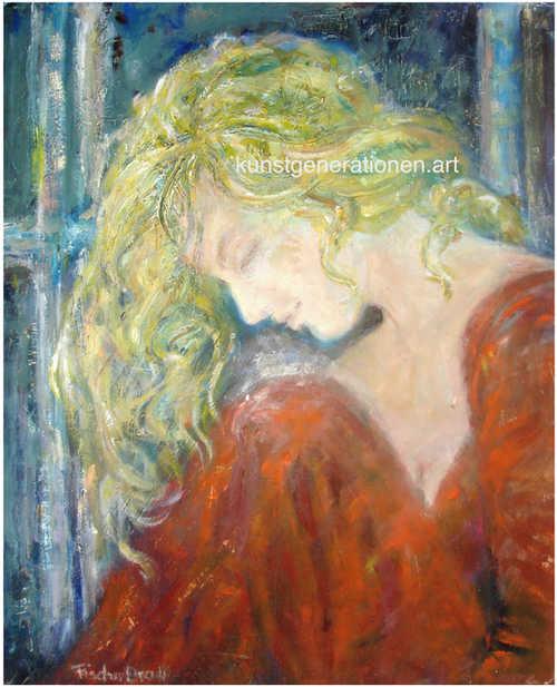 Die Blonde am Fenster2003Mischtechnik60x40 cm