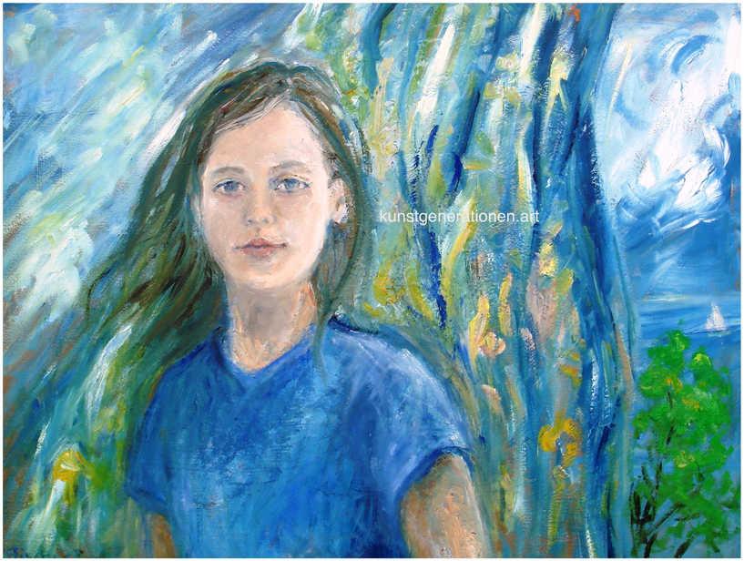 Mädchen am Fenster2002MT60x70 cm