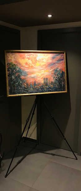 """Sybilles """"München wird leuchten"""" auf einer Ausstellung in 2019.  Sybille's view of Munich's night sky at an exhibition in 2018."""
