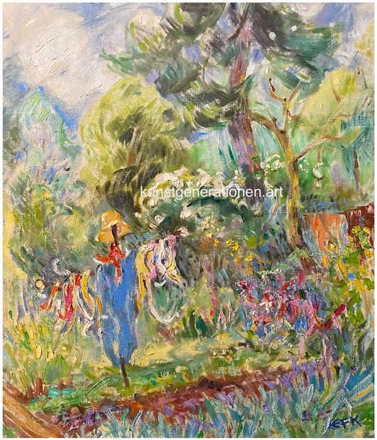 Vogelscheuche im Garten1984O/C60x70 cm