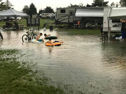 Kids making the most of flooding