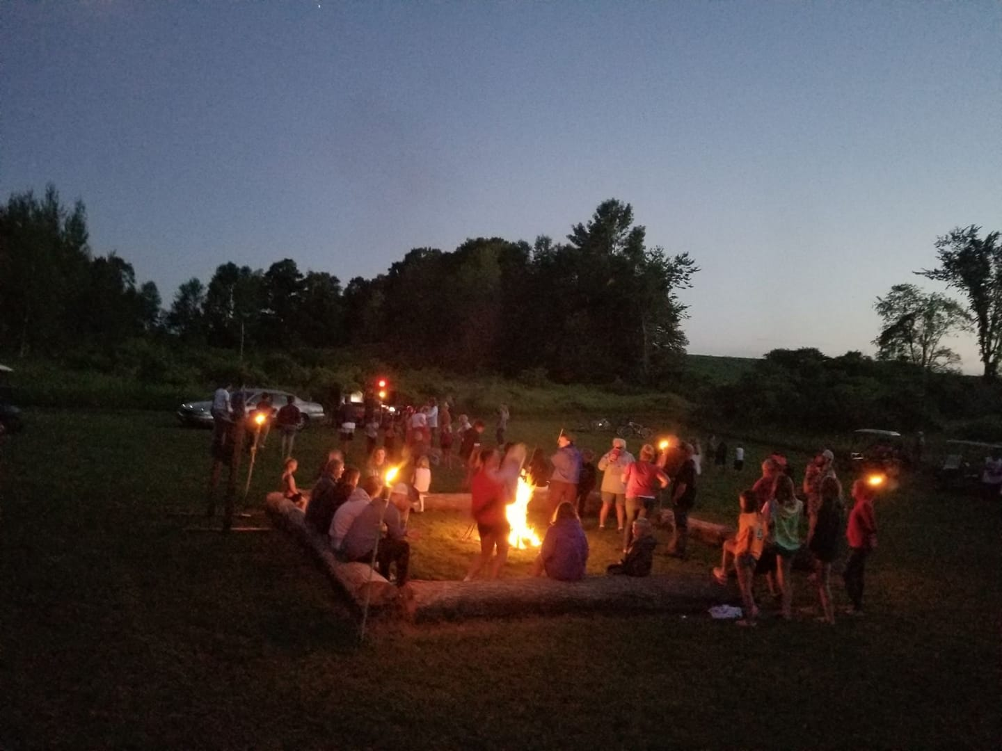 Bonfire at entrance to Haunted Trail