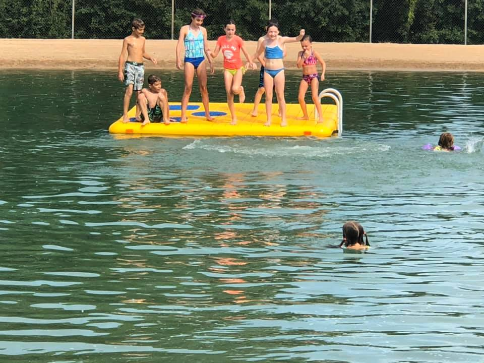 Enjoying the raft in the Oasis 2019