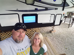 Campers posed at their site 2019