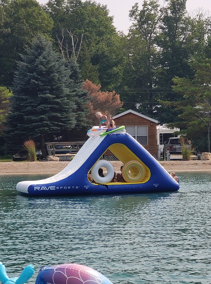 Kids on inflatable in Oasis 2019