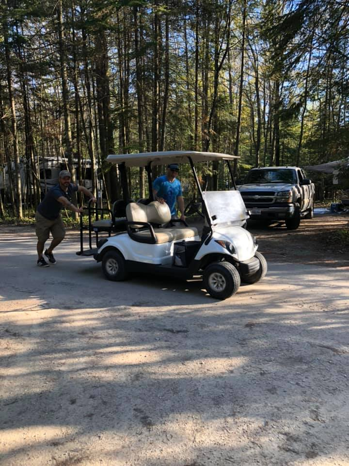 Pushing dead golf cart home 2019